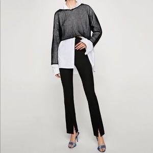 NEW Zara High Waist Slit Flare Legging Trousers